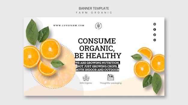 Diseño de plantilla de banner orgánico de granja