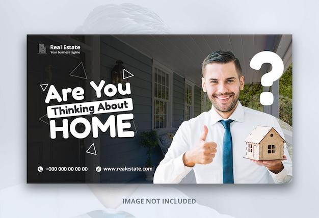 Diseño de plantilla de banner web para negocios inmobiliarios