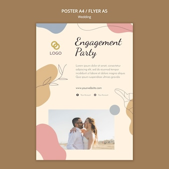 Diseño de plantilla de cartel de boda