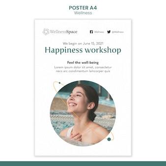 Diseño de plantilla de cartel de felicidad y bienestar