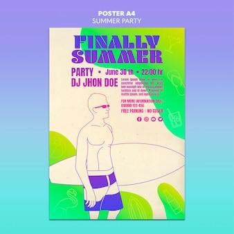 Diseño de plantilla de cartel de fiesta de verano