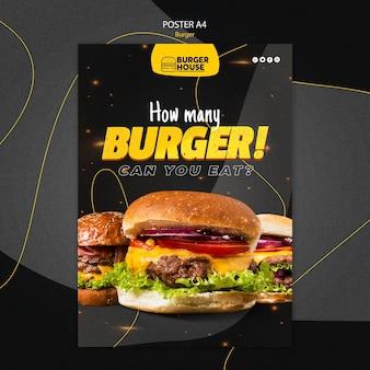 Diseño de plantilla de cartel de hamburguesa