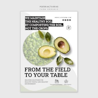 Diseño de plantilla de cartel orgánico de granja