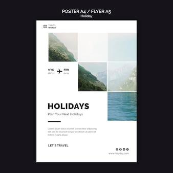 Diseño de plantilla de cartel de vacaciones