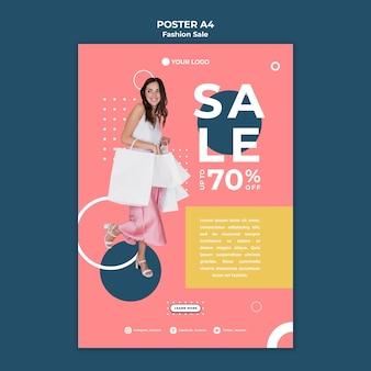 Diseño de plantilla de cartel de venta de moda