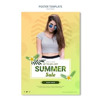 Diseño de plantilla de cartel de venta de verano
