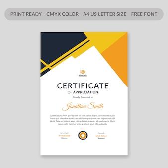 Diseño de plantilla de certificado corporativo