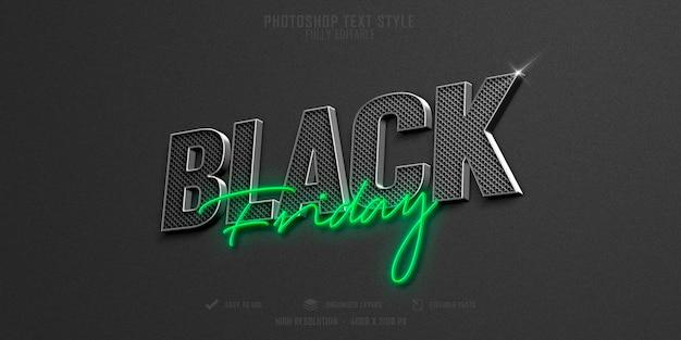 Diseño de plantilla de efecto de estilo de texto 3d de black friday