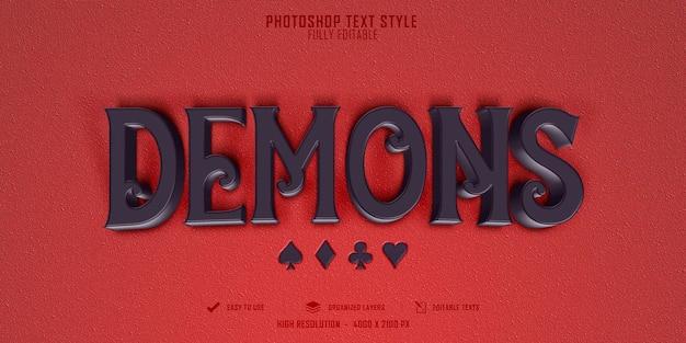 Diseño de plantilla de efecto de estilo de texto 3d de demonios