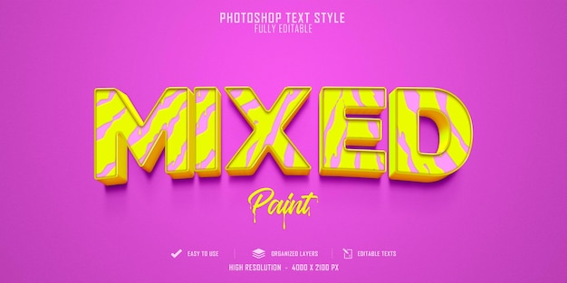 Diseño de plantilla de efecto de estilo de texto 3d mixto