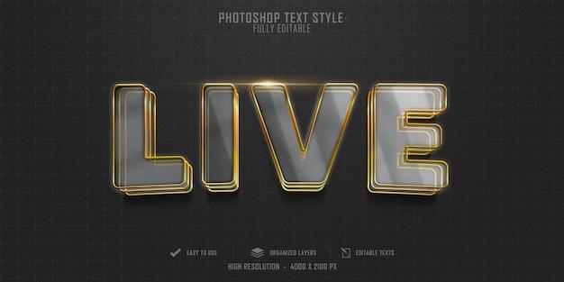 Diseño de plantilla de efecto de estilo de texto 3d en vivo