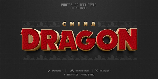 Diseño de plantilla de efecto de estilo de texto de china dragon 3d