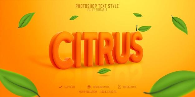 Diseño de plantilla de efecto de estilo de texto citrus 3d