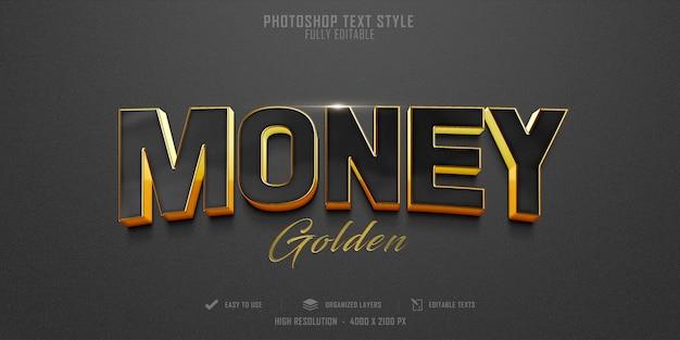 Diseño de plantilla de efecto de estilo de texto de dinero 3d