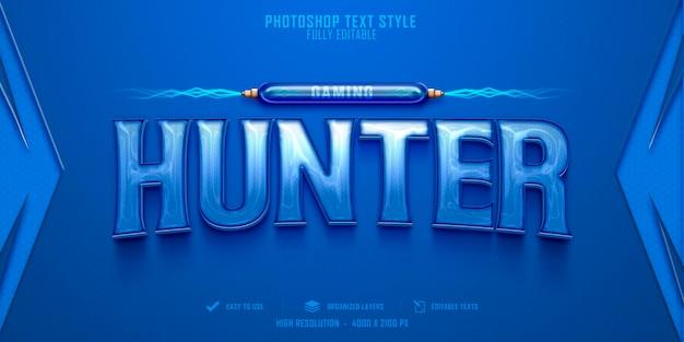Diseño de plantilla de efecto de estilo de texto de hunter 3d