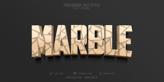 Diseño de plantilla de efecto de estilo de texto de mármol 3d