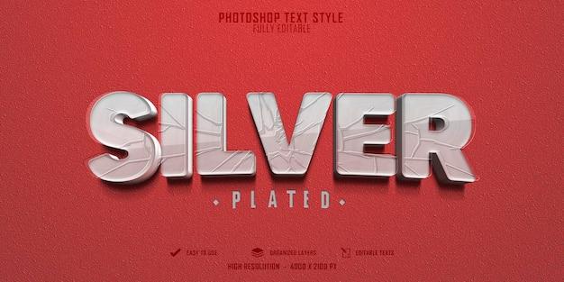 Diseño de plantilla de efecto de estilo de texto de plata 3d