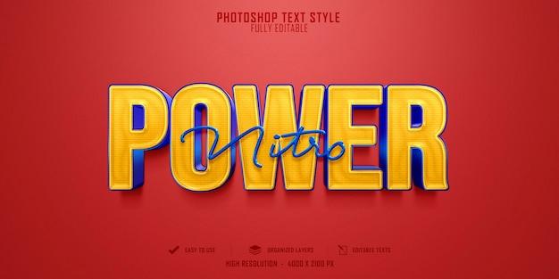 Diseño de plantilla de efecto de estilo de texto power 3d