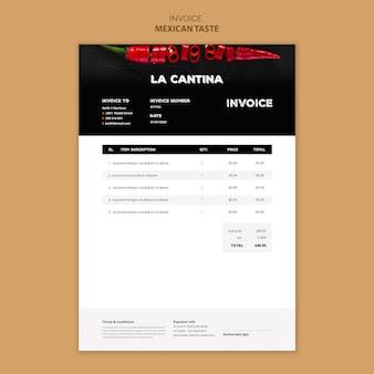Diseño de plantilla de factura de restaurante mexicano