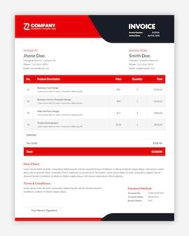 Diseño de plantilla de factura roja mínima