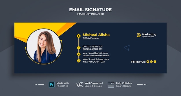 Diseño de plantilla de firma de correo electrónico comercial o pie de página de correo electrónico y portada de redes sociales personales