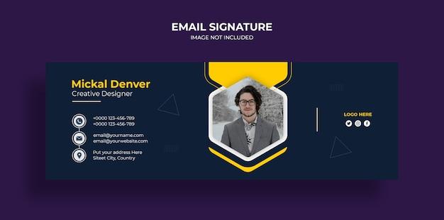 Diseño de plantilla de firma de correo electrónico o pie de página de correo electrónico y plantilla de portada de redes sociales personales