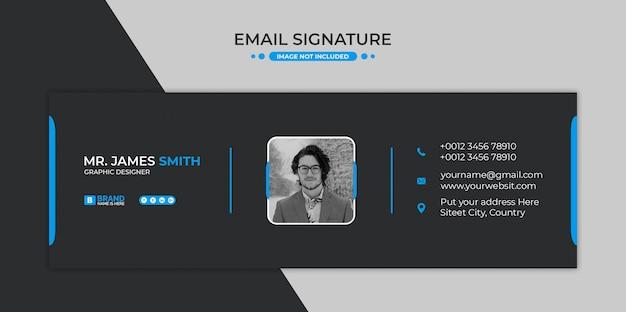 Diseño de plantilla de firma de correo electrónico o pie de página de correo electrónico y portada de redes sociales personales