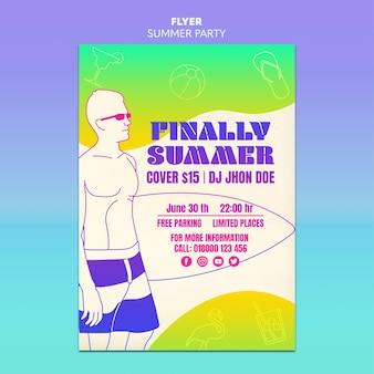 Diseño de plantilla de flyer de fiesta de verano