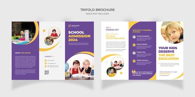 Diseño de plantilla de folleto tríptico de admisión de educación escolar