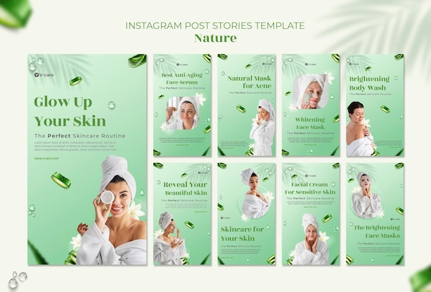 Diseño de plantilla de historia de instagram de cosméticos naturales de aloe vera
