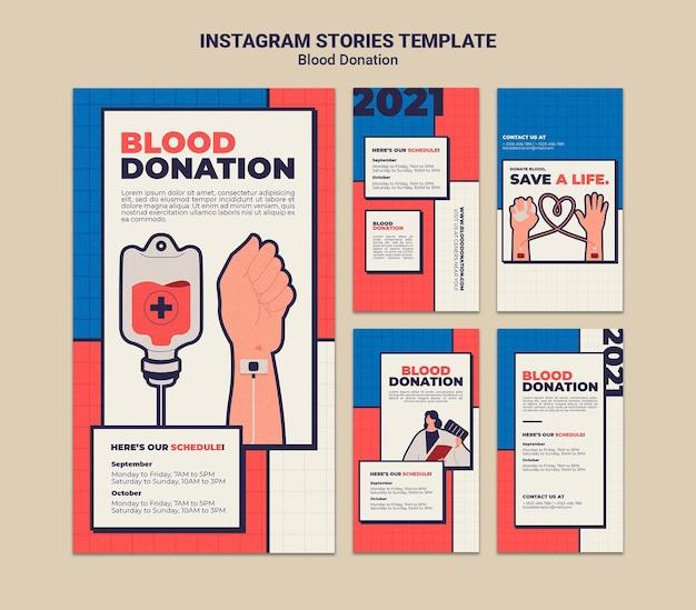 Diseño de plantilla de historia de instagram de donación de sangre