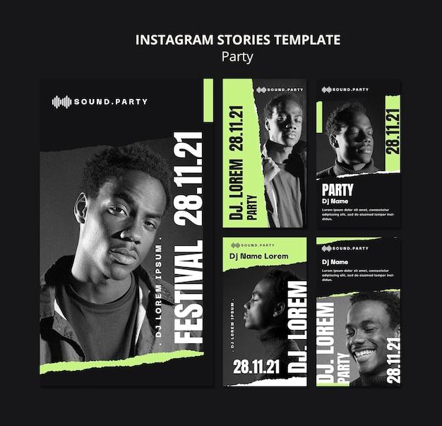 Diseño de plantilla de historia de instagram de fiesta