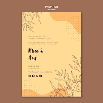 Diseño de plantilla de invitación de boda