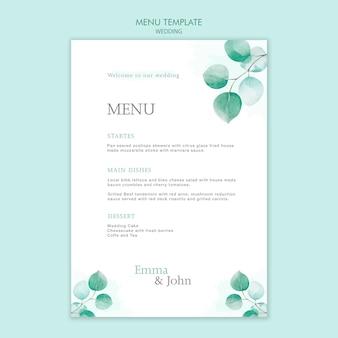 Diseño de plantilla de menú de boda