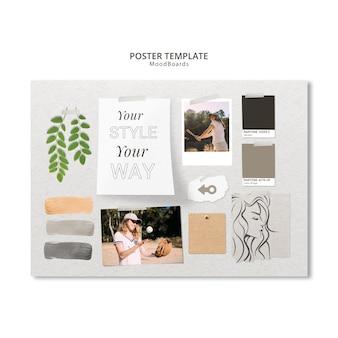 Diseño de plantilla de moodboard para póster