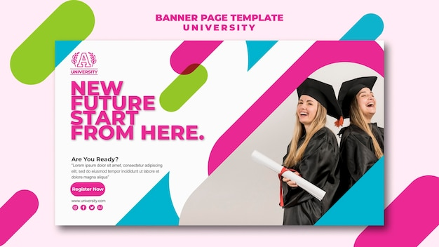 Diseño de plantilla de página de banner universitario