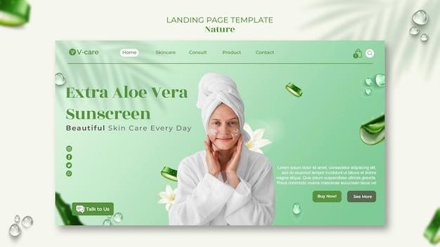 Diseño de plantilla de página de destino de cosméticos naturales de aloe vera