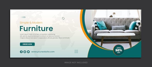 Diseño de plantilla de portada de facebook de muebles
