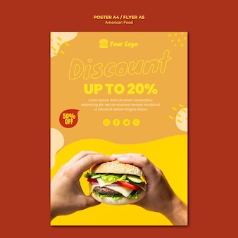 Diseño de plantilla de póster de comida americana