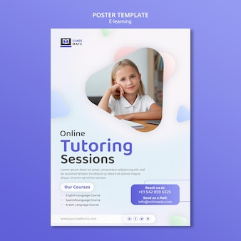 Diseño de plantilla de póster de e-learning