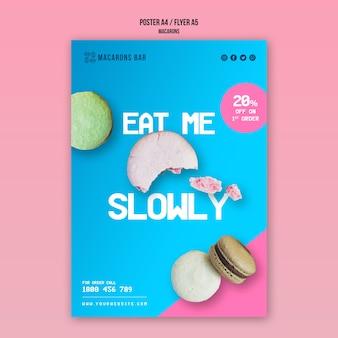Diseño de plantilla de póster de macarons