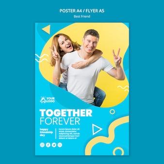 Diseño de plantilla de póster de mejores amigos