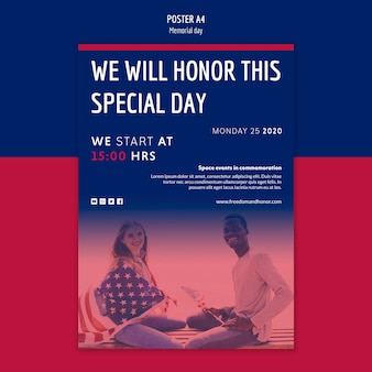 Diseño de plantilla de póster de memorial day