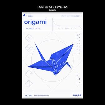 Diseño de plantilla de póster de origami