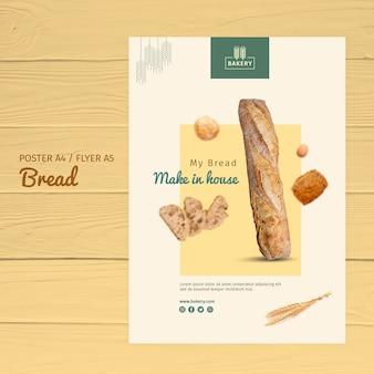 Diseño de plantilla de póster de panadería