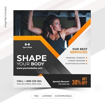 Diseño de plantilla de publicación de instagram de fitness