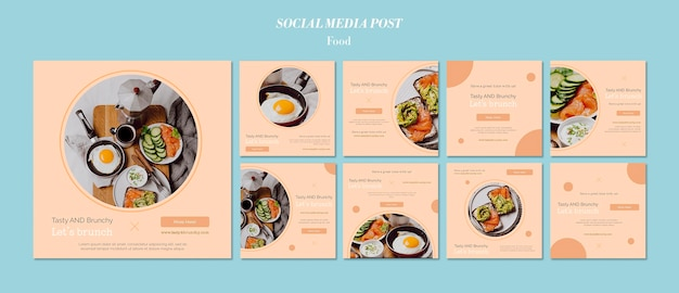 Diseño de plantilla de publicación de redes sociales de alimentos