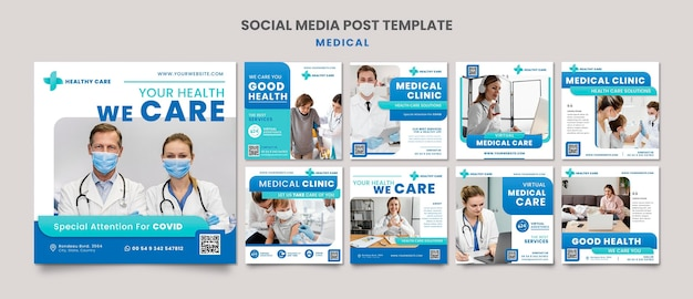 Diseño de plantilla de publicación de redes sociales de atención médica