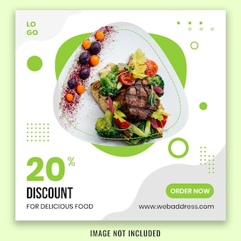 Diseño de plantilla de publicación de redes sociales de banner de alimentos