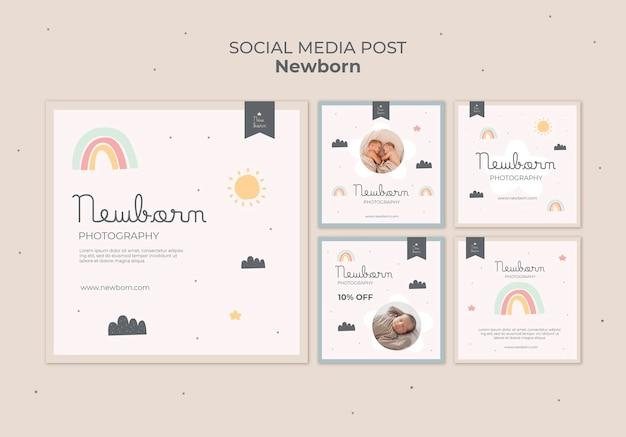 Diseño de plantilla de publicación de redes sociales de bebé recién nacido